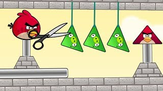 Angry Birds Pigs Out - CUT THE ROPE! LET ALL TRIANGLE PIGS DOWN FULL!