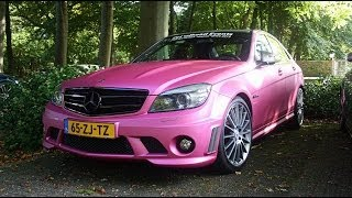 MATTE PINK Mercedes C63 AMG Acceleration Sounds! (1080p Full HD)
