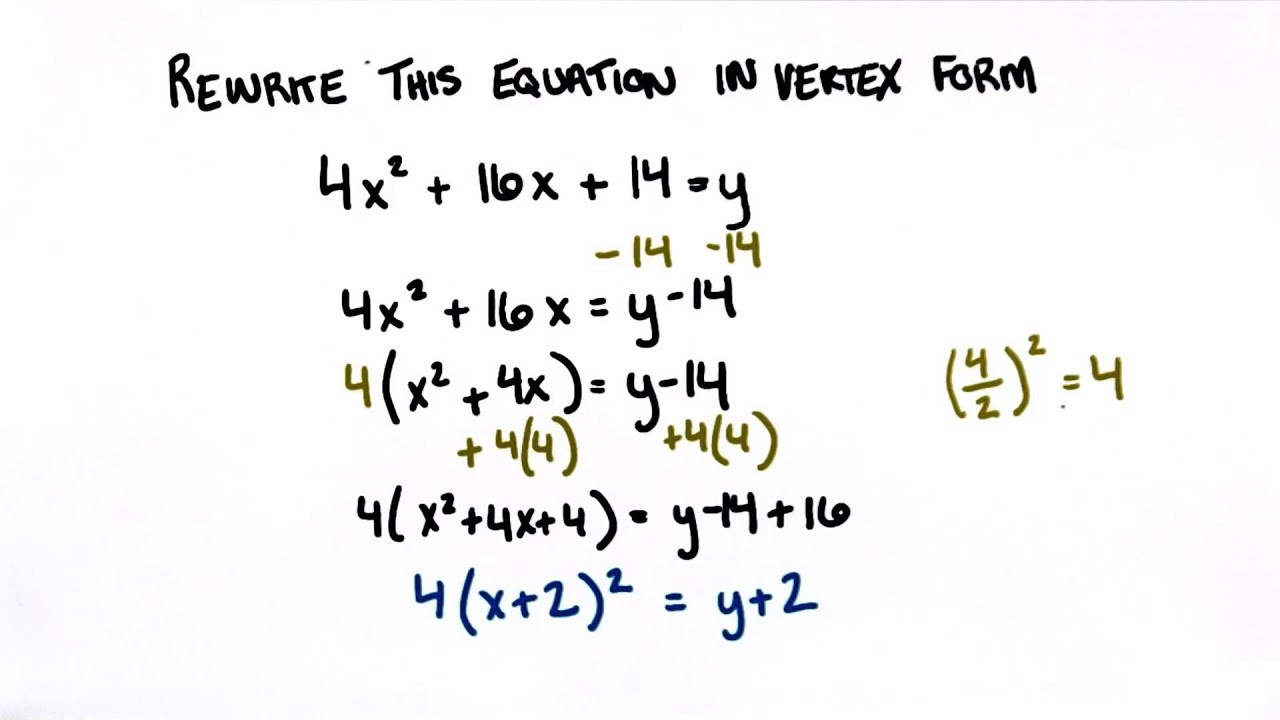Rewrite in Vertex Form - College Algebra - YouTube