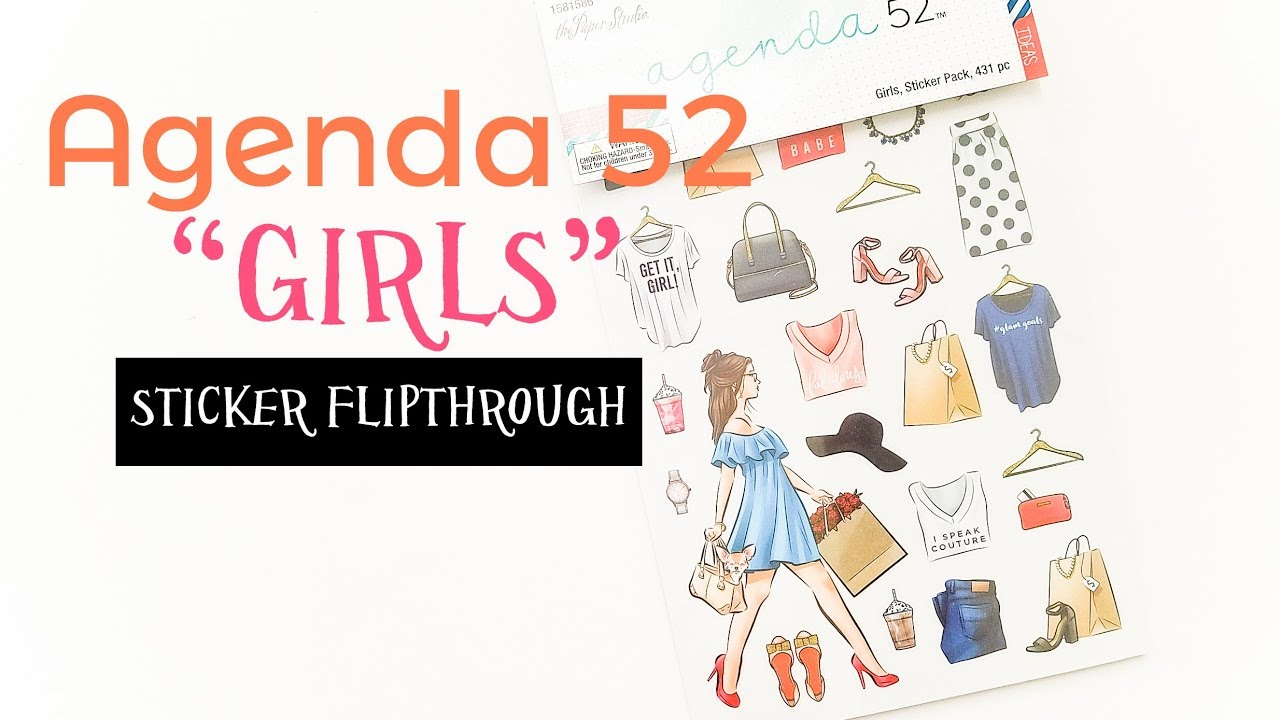agenda 52 girls sticker flip through youtube