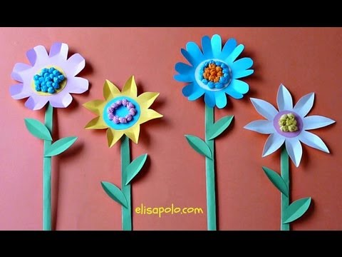Diy Manualidades Para Primavera Flores De Cartulina Paper Flowers