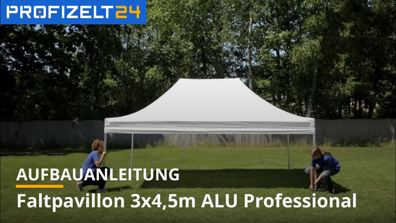 faltzelt faltpavillon partyzelt aufbau 3x4 5m professional pavillon zelt profizelt24 youtube. Black Bedroom Furniture Sets. Home Design Ideas