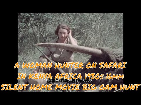 A WOMAN HUNTER ON SAFARI IN KENYA AFRICA  1930s 16mm SILENT HOME MOVIE  BIG GAME HUNT  64994