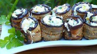 Рулетики из баклажанов с плавленым сыром и болгарским перцем