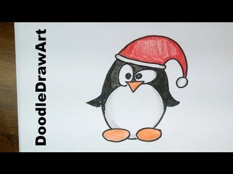 Drawing: How To Draw a Cute Cartoon Christmas Penguin Tux ...