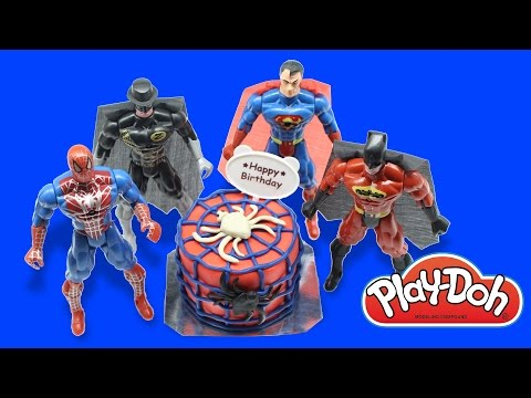 Play doh birthday cake Spiderman with Super hero, Batman, Spiderman,betman & superman. Play doh fun!