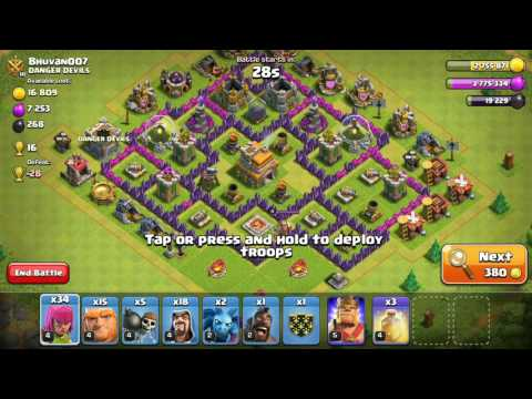 Townhall 7 best attack strategy. 3 star every other townhall. (HINDI)