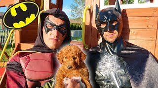 Batman And PUPPY Use Pretend Play Magic!