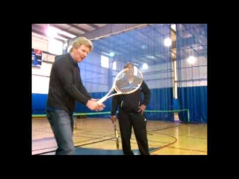 Jim Courier Works On Tennis Skills With Genesis School Students