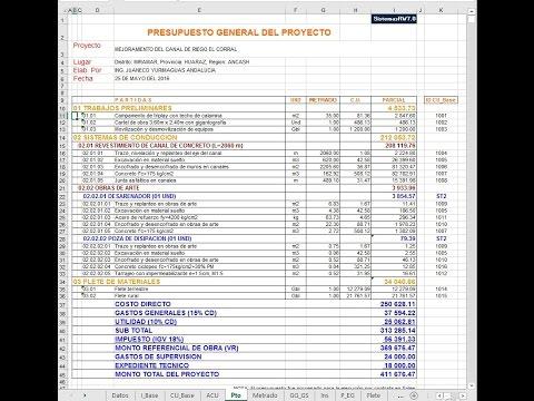 Presupuesto de obras en excel con sistemas rw7 youtube - Presupuesto para pintar ...