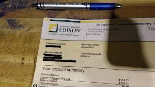 My August 2018 Edison bill! $7.15!