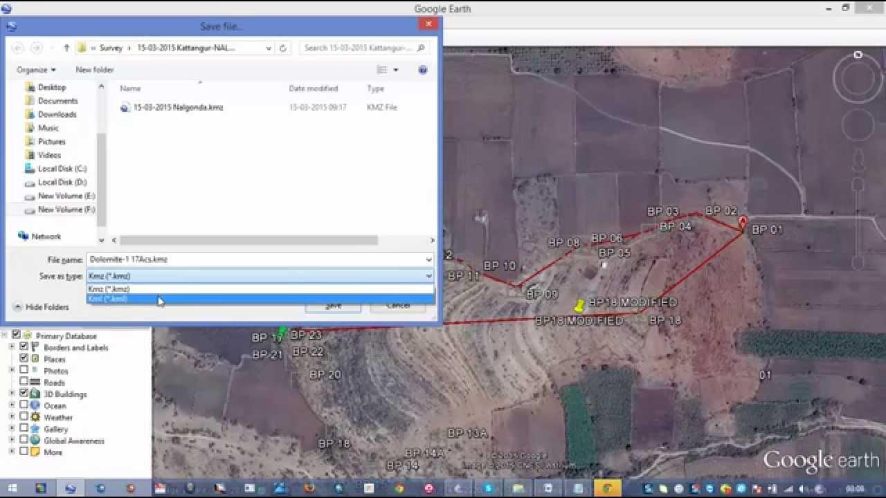Create kml or kmz file from Google Earth