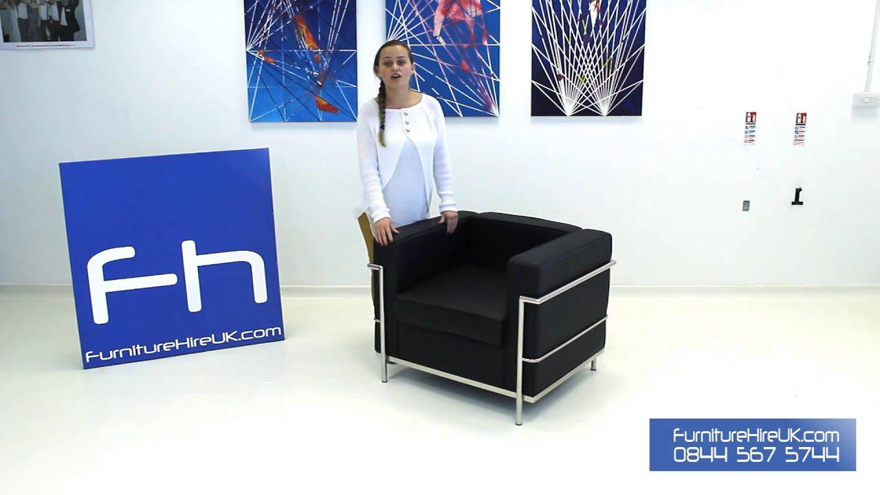 1 Seater Black Corbusier Sofa Demo - Furniture Hire UK