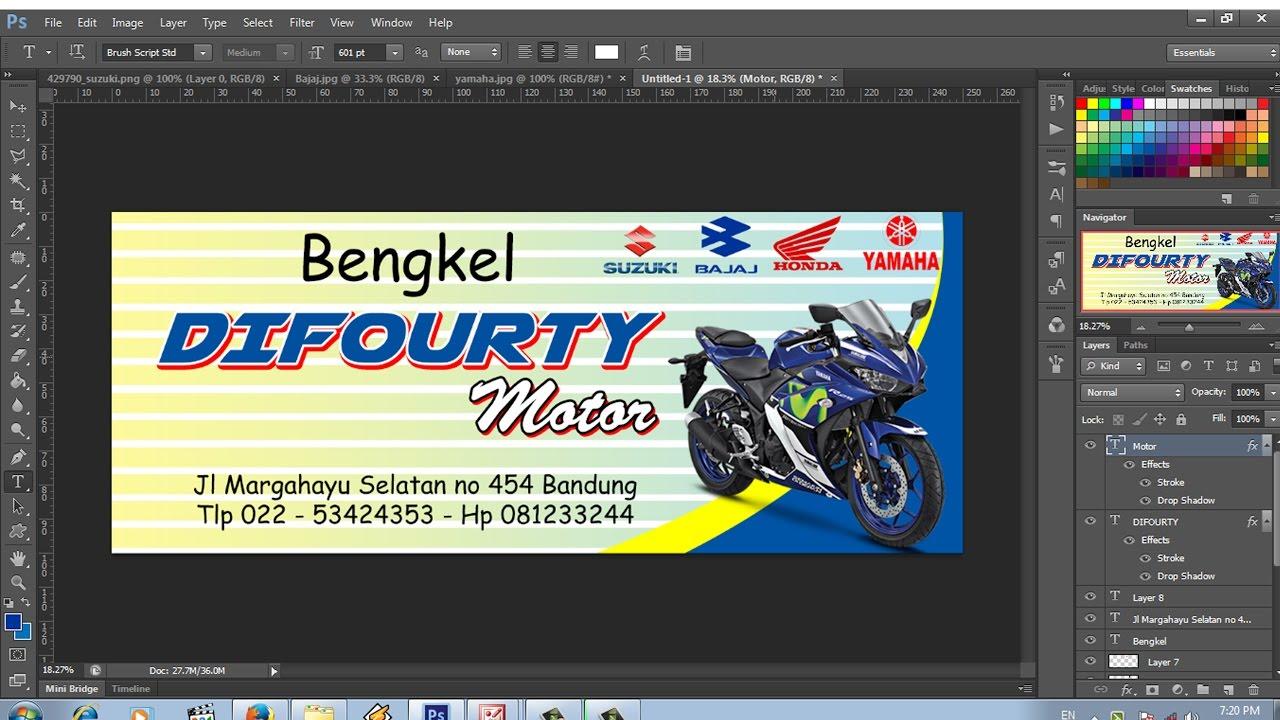 cara mudah membuat banner bengkel motor - YouTube