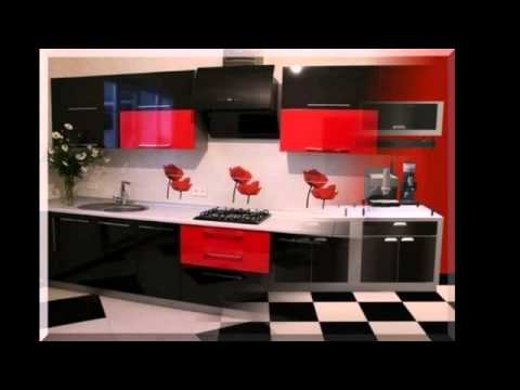 Black and red kitchen design youtube for Red white and black kitchen designs