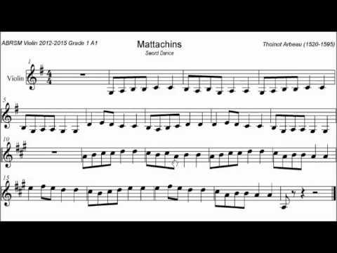 ABRSM Violin 2012-2015 Grade 1 A:1 A1 Arbeau Mattachins Sheet Music