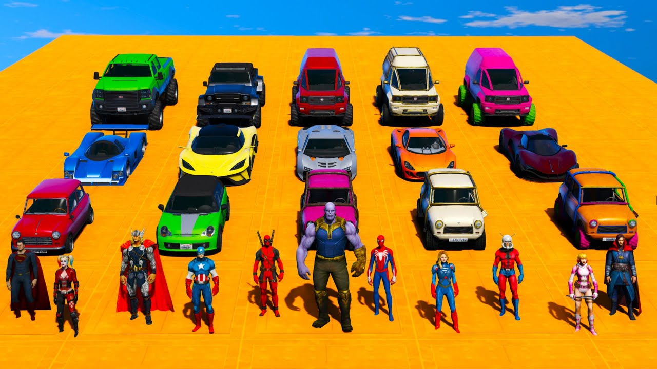 Spiderman badstart Ramps Thanos Ironman mark II Green Goblin Superman Off road SuperCars Mini Cars