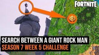 Search between a Giant Rock Man - Fortnite Season 7 Week 5 Challenges