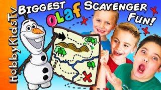 World's Biggest OLAF SCAVENGER HUNT! Frozen Surprise Toys + Treasure Clues HobbyKidsTV