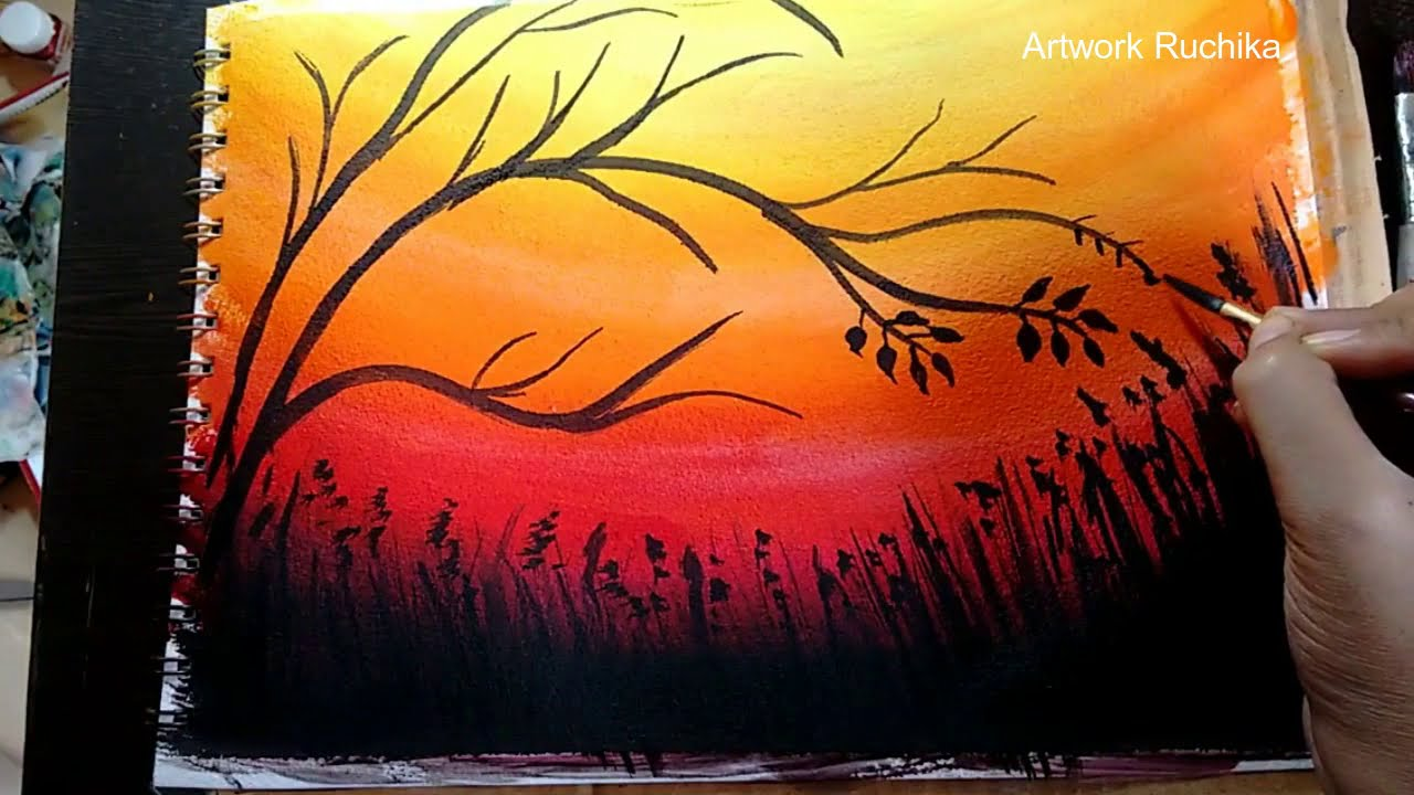 Painting Tree With Birds In Sunset