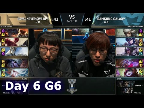 Royal Never Give Up vs Samsung Galaxy | Day 6 Main Group Stage S7 LoL Worlds 2017 | RNG vs SSG G2