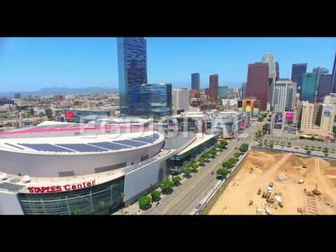 Aerial Drone Video - Los Angeles skyline and construction sites