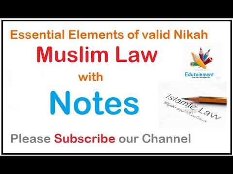 #Notes Essential elements of valid Nikah in Muslim Marriage in hindi