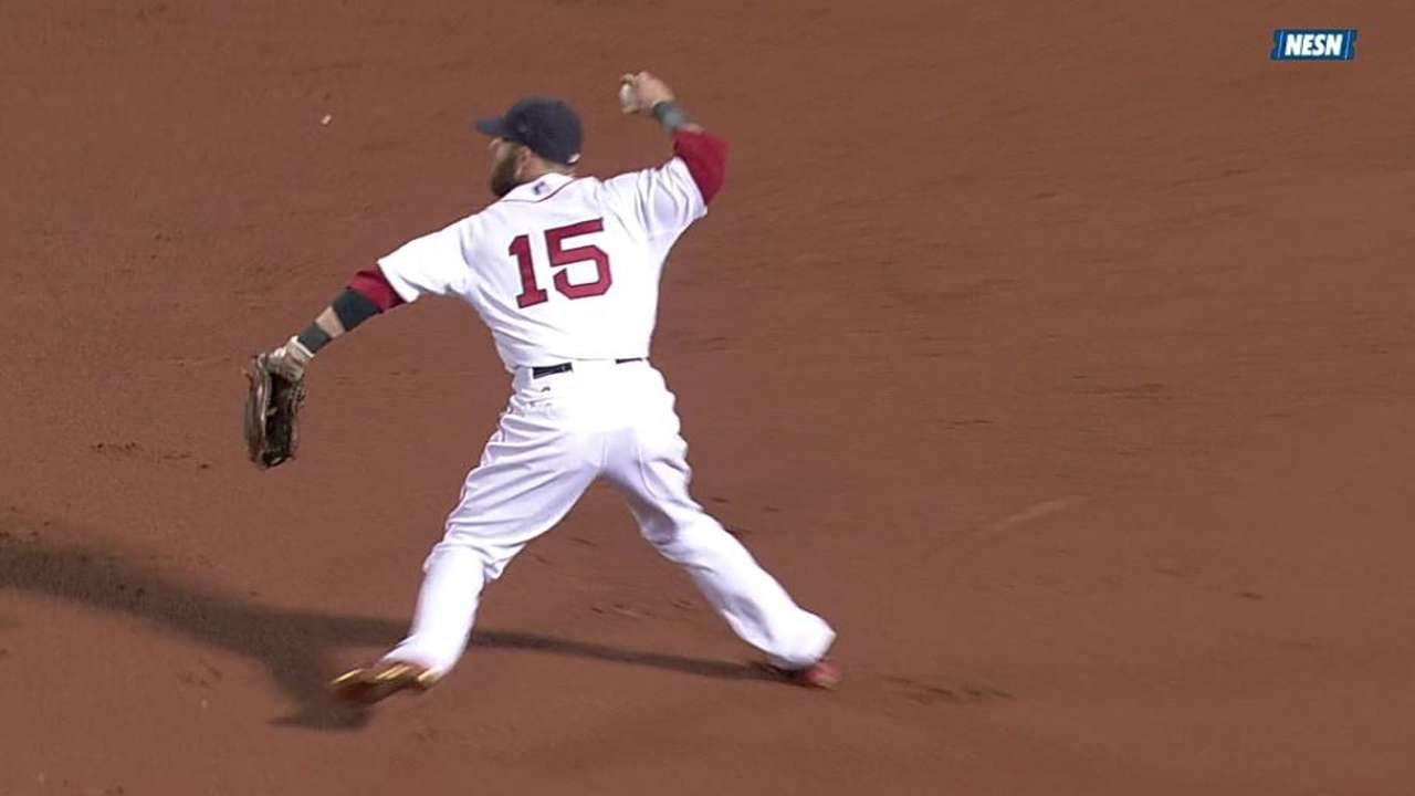 BAL@BOS: Pedroia's smart throw nabs the lead runner