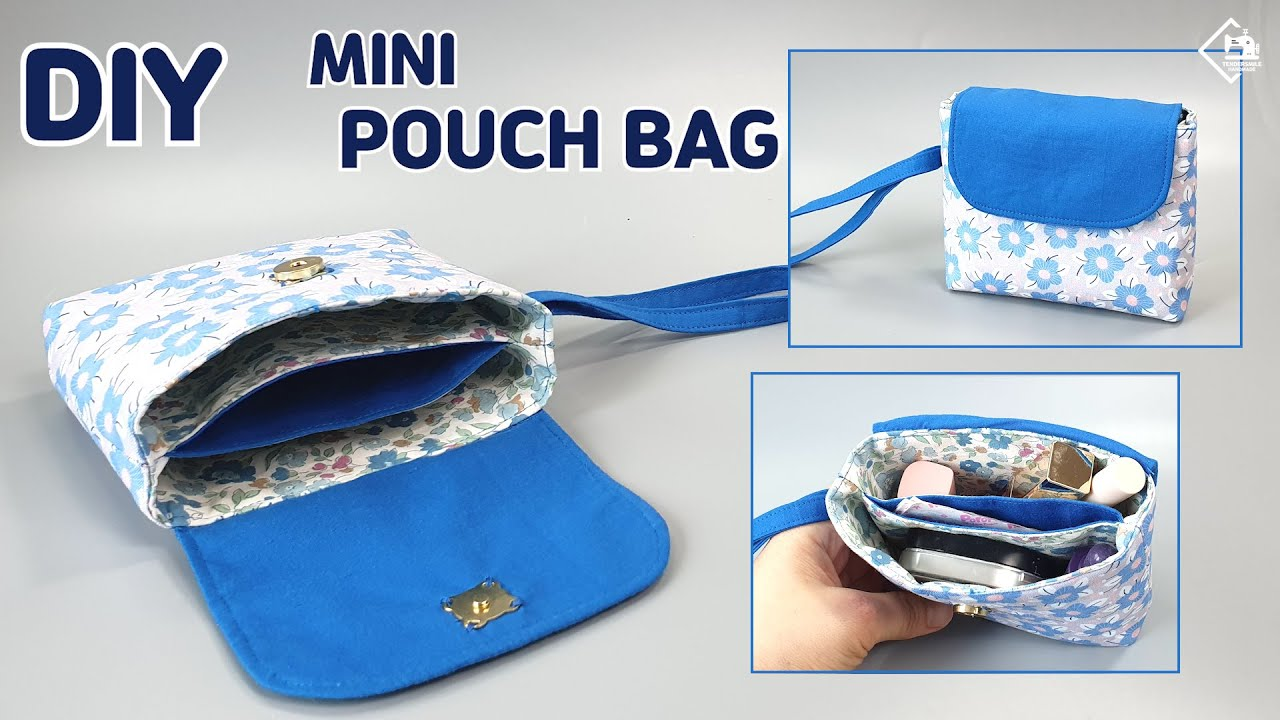 DIY Mini Pouch Bag without zipper / Free pattern / sewing tutorial [Tendersmile Handmade]