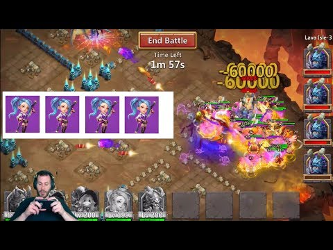 4 TOTAL GunSlingers Lava 3 INSANELY FAST WOW Castle Clash