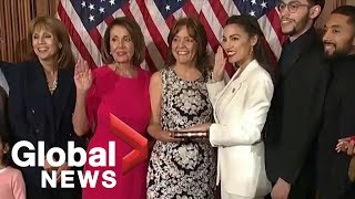 Alexandria Ocasio-Cortez, youngest women ever to be elected to Congress, sworn in