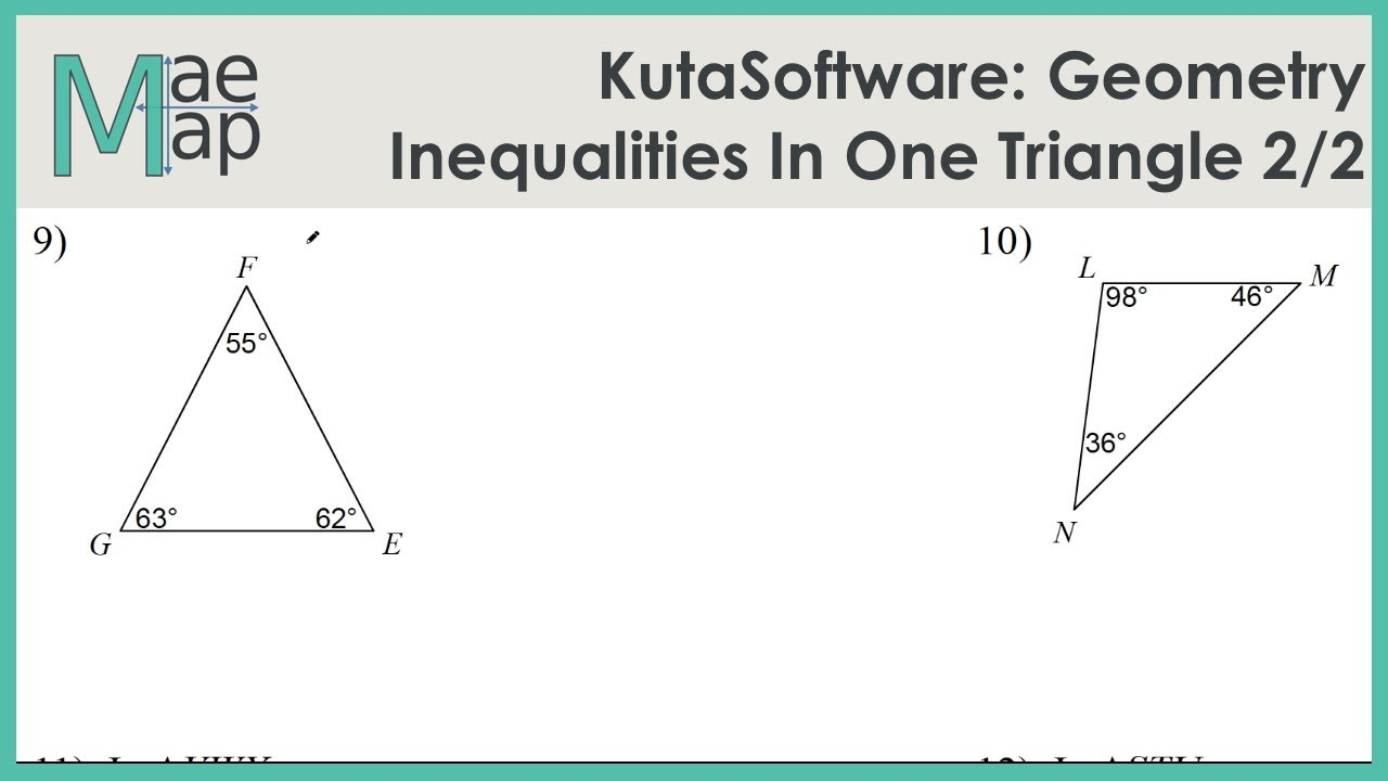 KutaSoftware: Geometry- Inequalities In One Triangle Part 25 With Regard To Triangle Inequality Theorem Worksheet