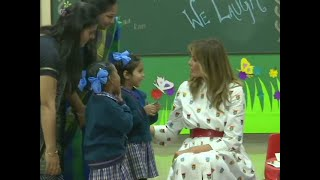 Trump in India day 2: FLOTUS Melania with students in Delhi school