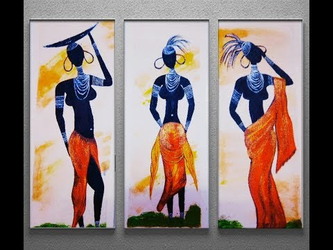 Canvas Painting of Tribal black Lady | Canvas painting for beginners by homedecor fi