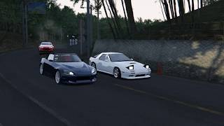 3 Way Usui Touge Battle! FC vs S2000 vs GT86! - Assetto Corsa