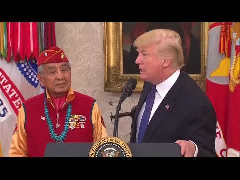 Trump Jokes About 'Pocahontas' At Event Honouring Native American WWII Veterans