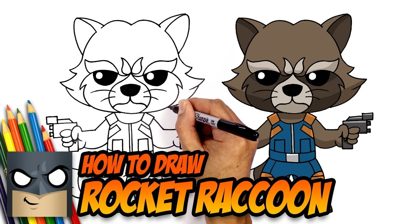 How To Draw Rocket Raccoon Guardians Of The Galaxy Step By Step