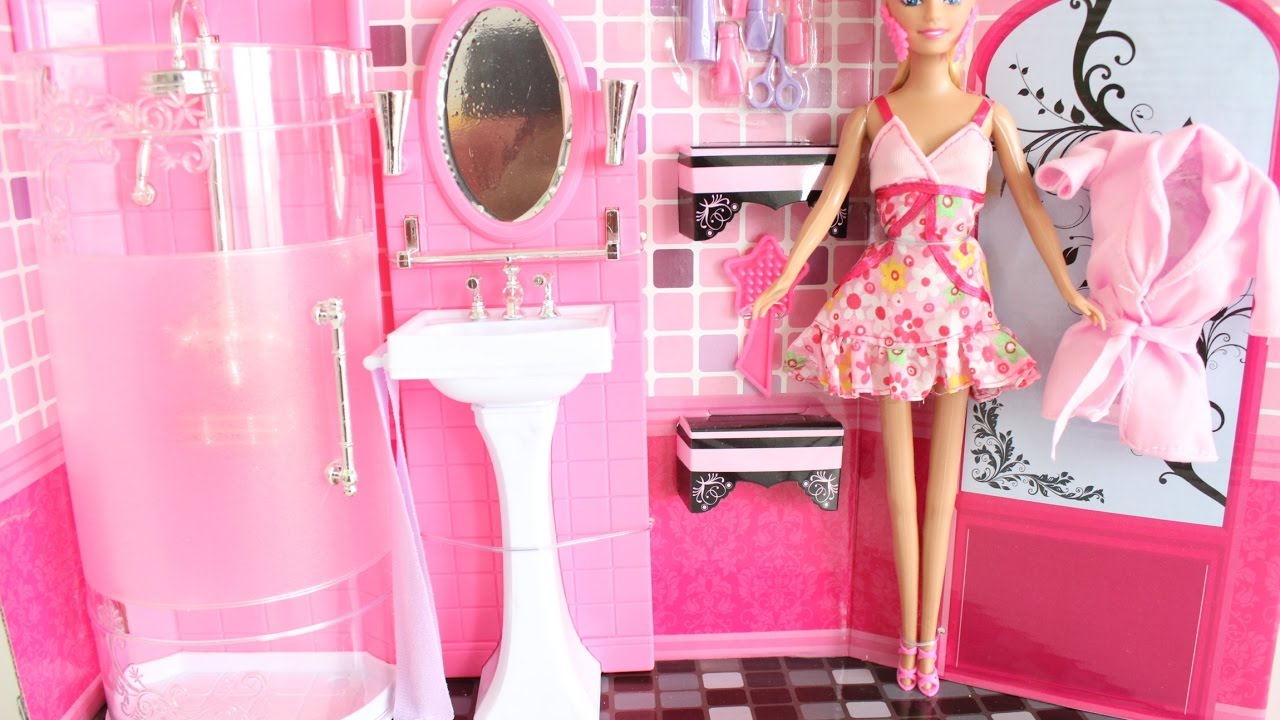 barbie doll bathroom unboxing youtube rh youtube com