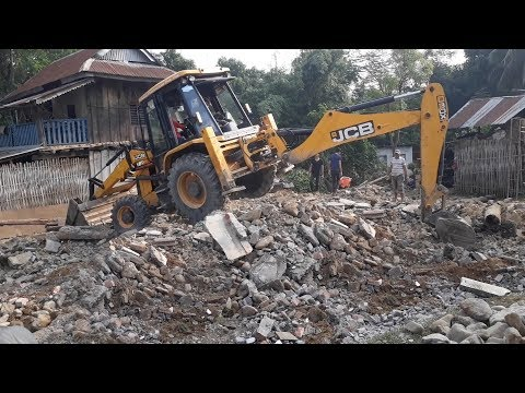 JCB Digger Collecting Stones and Mud - JCB Cleaning Field For Home Construction - JCB VIDEO