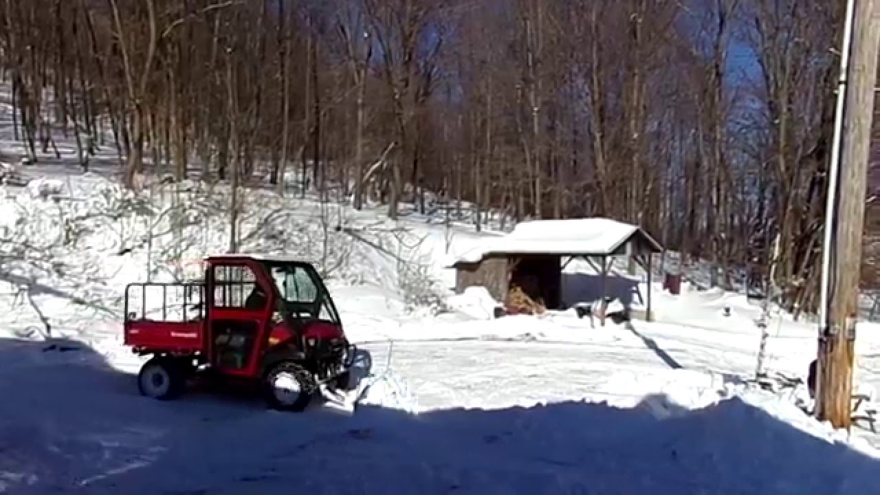 Plowing Snow With Kawasaki Mulesel