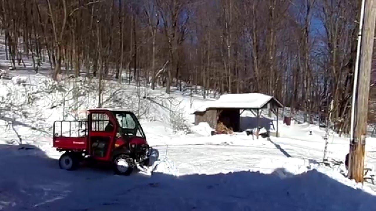 Plowing Snow With Kawasaki Mulesel