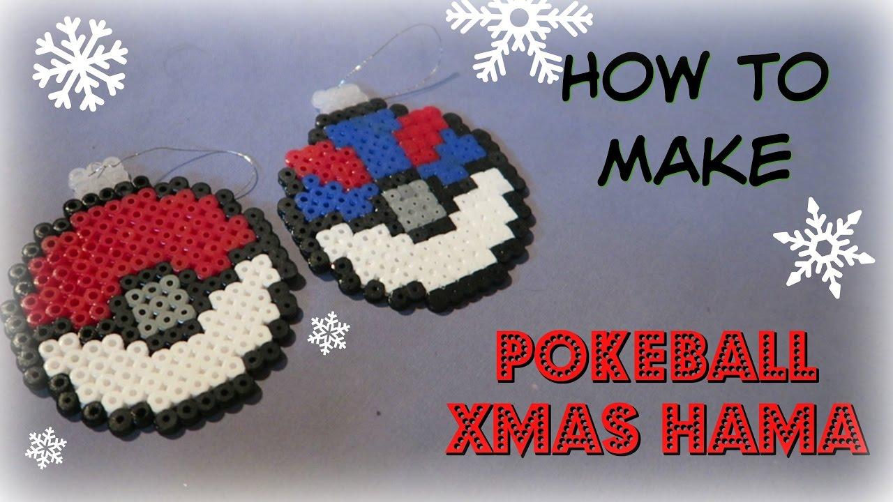 How To Make Hama Pokeball Xmas Decoration Baubles Toxicpanda