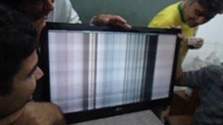 TV LG: Imagem com efeito cachoeira e rolando. Como foi consertada.