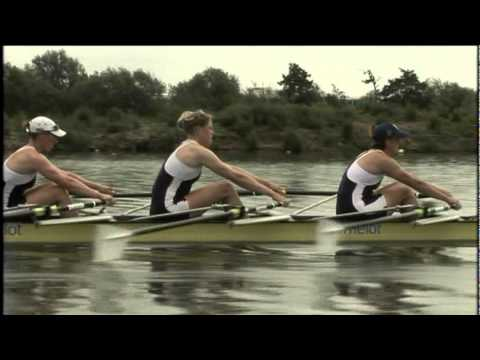 Check rigging on the water in sculling shell