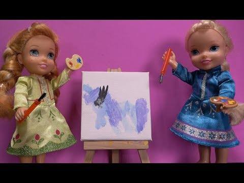 Elsa and Anna toddlers paint a picture with the Disney princess toddlers and My little Pony