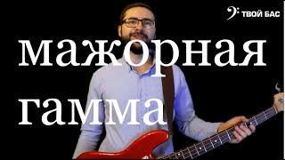 Мажорная гамма на бас гитаре