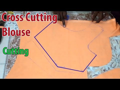 Cross Cutting Blouse Cutting Full Class | Cross Cut Blouse Cutting(p-1) Stitching(p-2) Easy Method