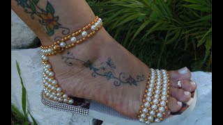 Linda sandália bordada em Perolas Super Fácil – FINAL OU MEIO – Por Maguida Silva!
