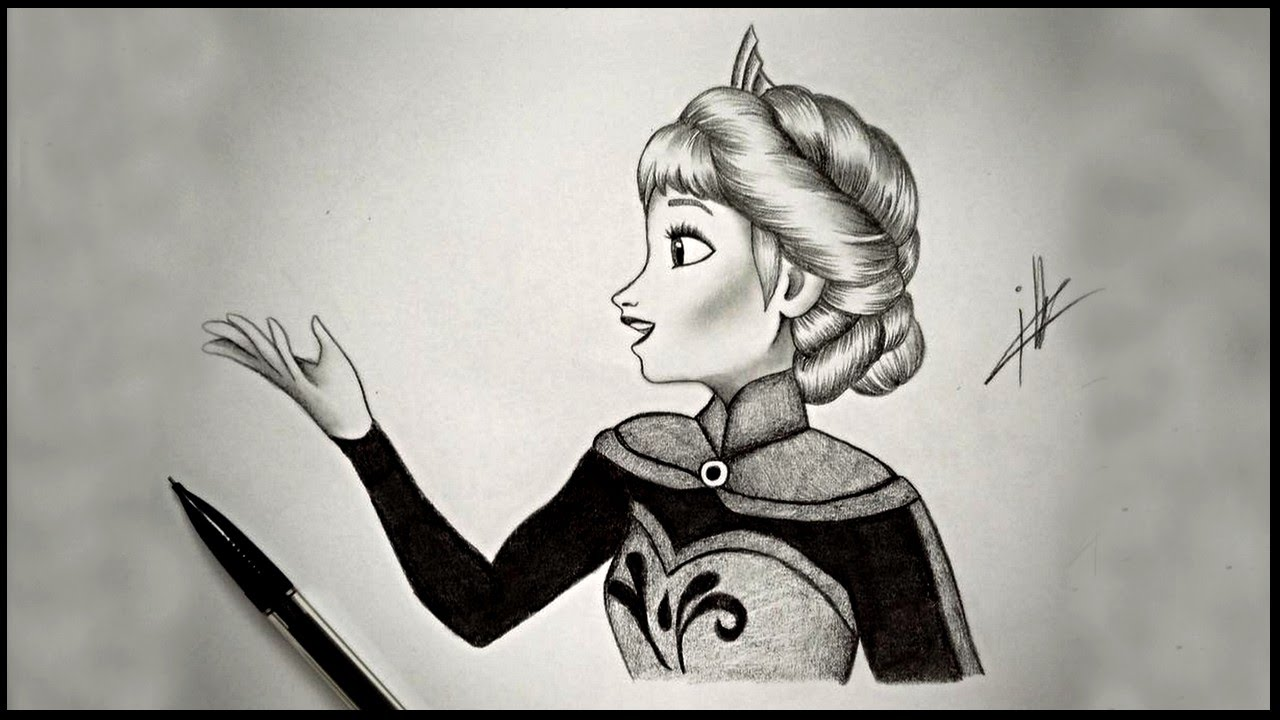 Frozen drawing elsa in let it go scene