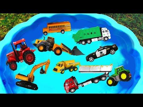 Camión de Construcción para niños - Tractor, Coche de Policía, Camion De Basura, Autobús Escolar
